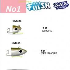 FiiiSH BLACK MINNOW JIGHEADS No1
